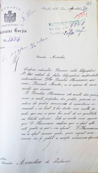 Adresa Telegrama Pleniceanu Moscuna