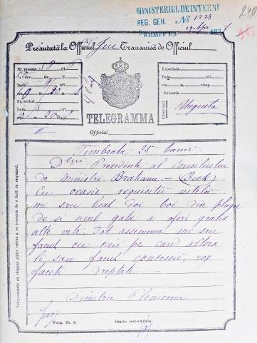 Telegrama D Pleniceanu